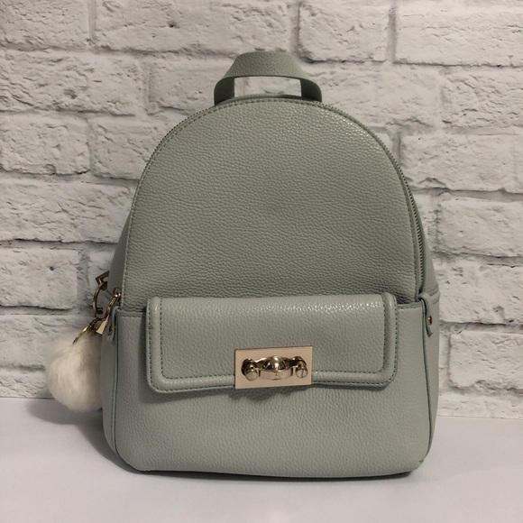 Zara Handbags - Baby Blue Backpack with Pompom